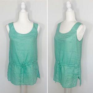 DONCASTER green linen sleeveless tank top